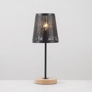 Image 3 - OYGROUP Moderne Kleine Nacht Lampe mit Holz Basis Schwarz Metall Stick und Hohl Lampenschirm E14 Tisch Lampe Raum Dekoration KEINE BIRNE