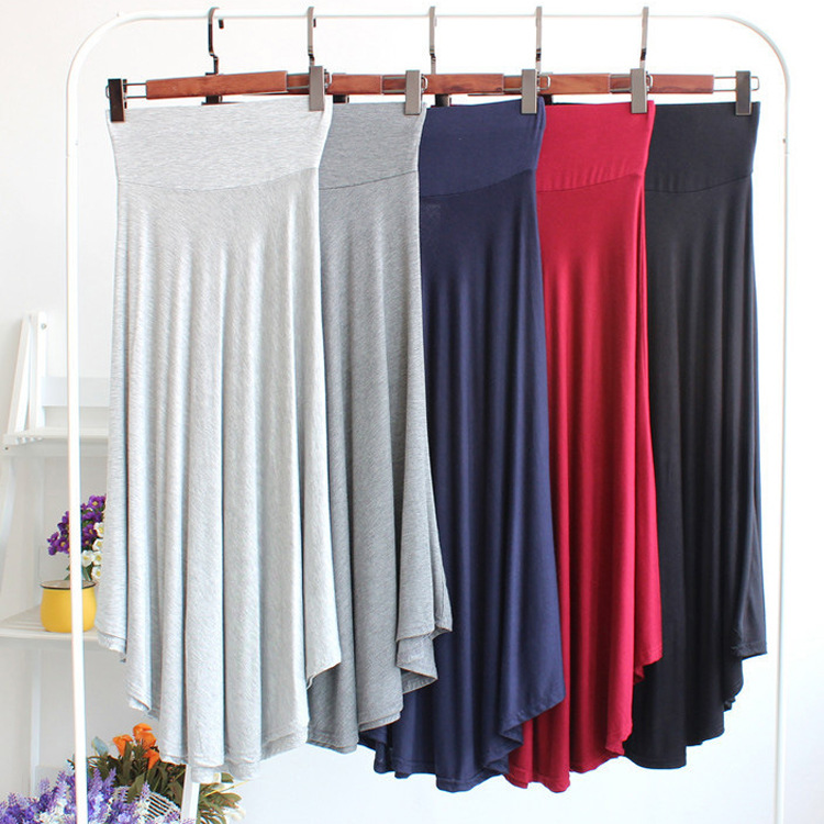 Modal High Waist Skirt Elastic Waist Elasticity Thin Wide Waist Long Skirts Elegant Slimming Skirt