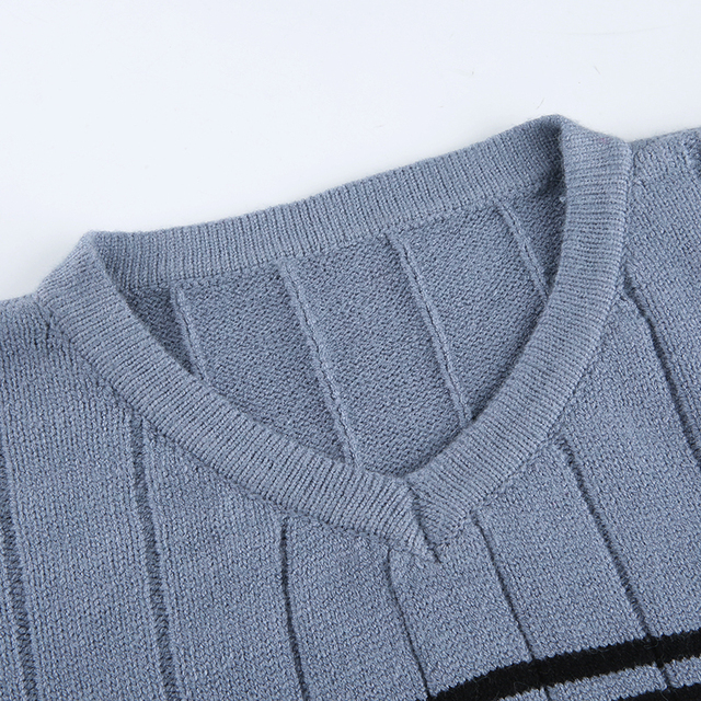 Oversized V Neck Sweater with stripped lines