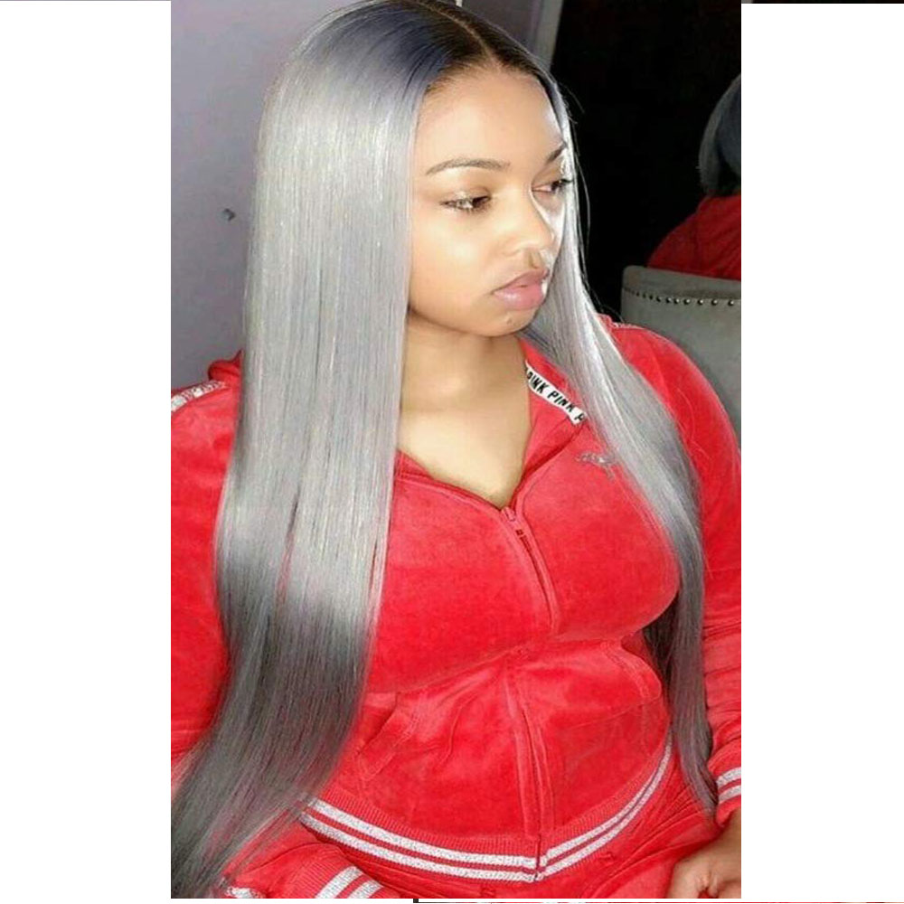 Middle Part Straight Ombre Ash Blond 13×6 Lace Front Human Hair Wigs #4T60 Brazilian Remy PrePlucked With Baby Hair