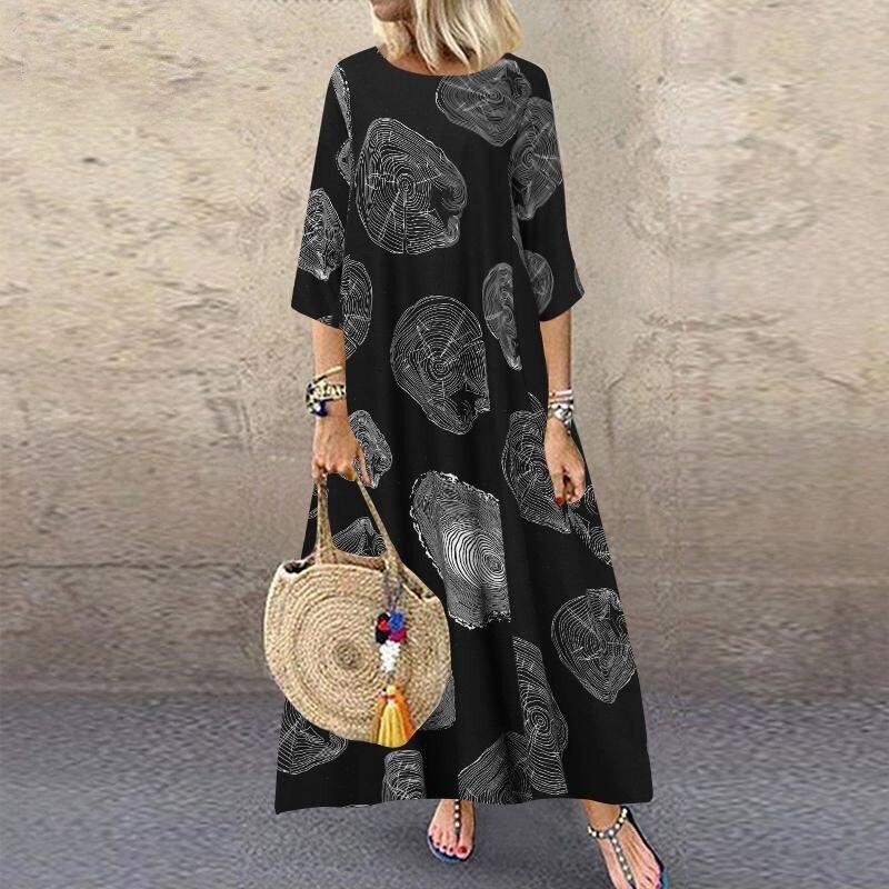 Vestidos femininos algodão impressão boho vestido de linho graffiti manga comprida vestido de contraste impresso vestidos largos vestido longo