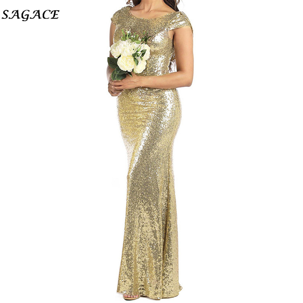 ReooLy Women Shining Sequins Strap Slim Party Dress Fashion Sleeveless Fork-Opening Evening Dress
