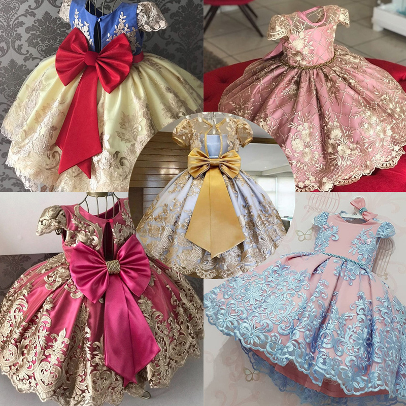 Elegant Dress For Girls Wedding Dresses 4 To 10Yrs Summer Princess Party Events Ball Gown Children Clothing Evening Frocks Dress