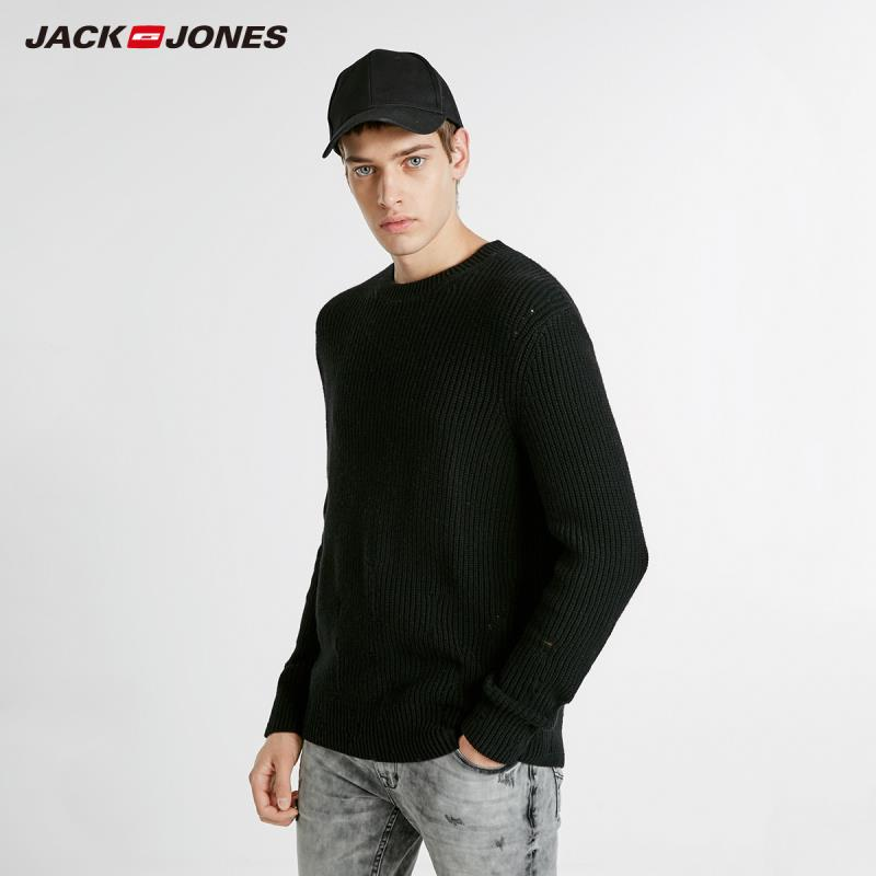 JackJones Winter Men's Wool Ripped Casual Sweater Basic Top  218424502