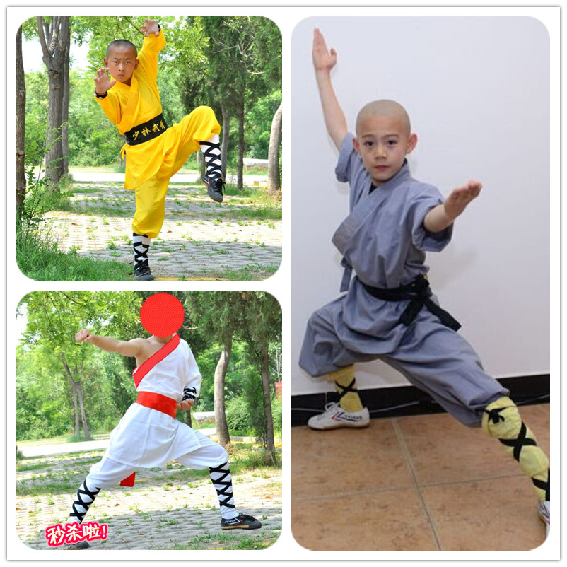 2019 Wushu Kids Chinese Outfits For Kids Monk Costume Stage Performance Costume Set Shaolin Kids Kung Fu Uniform Tang Suit Child
