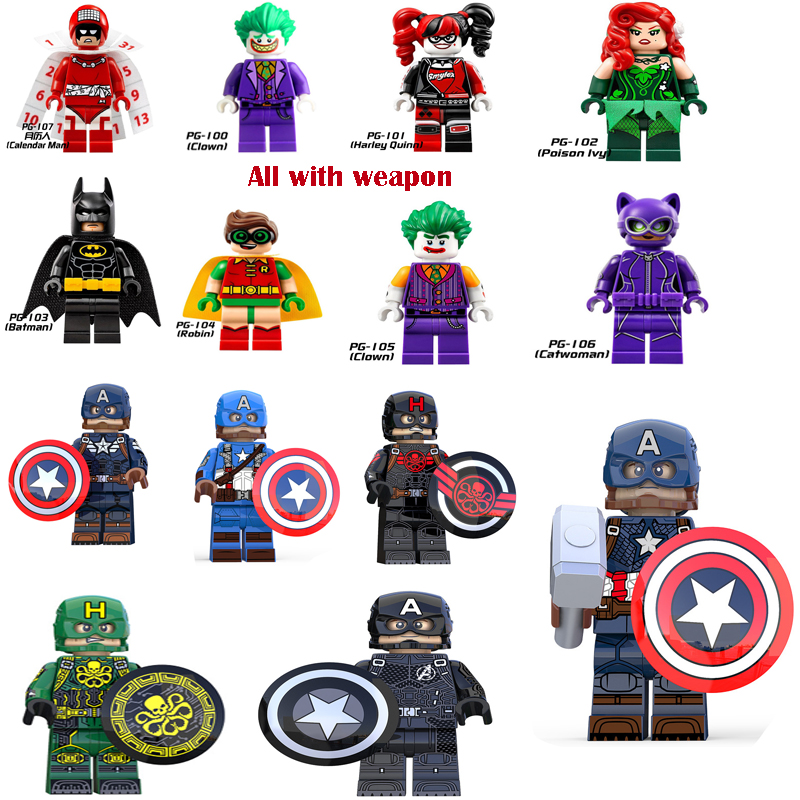 Legoelys Harley Quinn Captain America Batman Clown Catwomen Movie Action Figures Joker Toys For Children Building Blocks