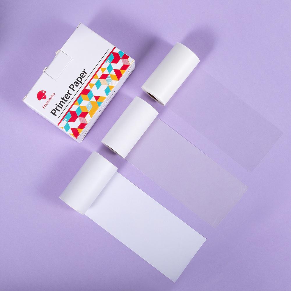 Phomemo 3 Rolls Mixed Transparent/Semi-transparent/Regular Sticker Thermal Paper For Phomemo M02 Series Printer