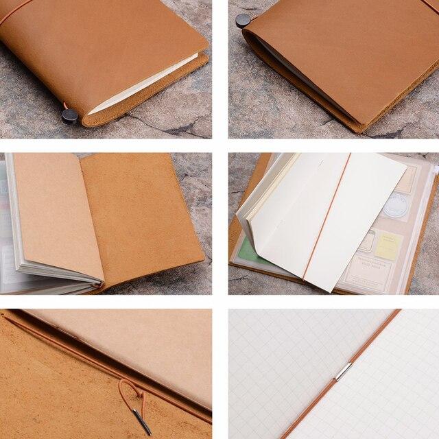 Traveler's Notebook A5 en cuir - Planner rechargeable - camel - intérieur