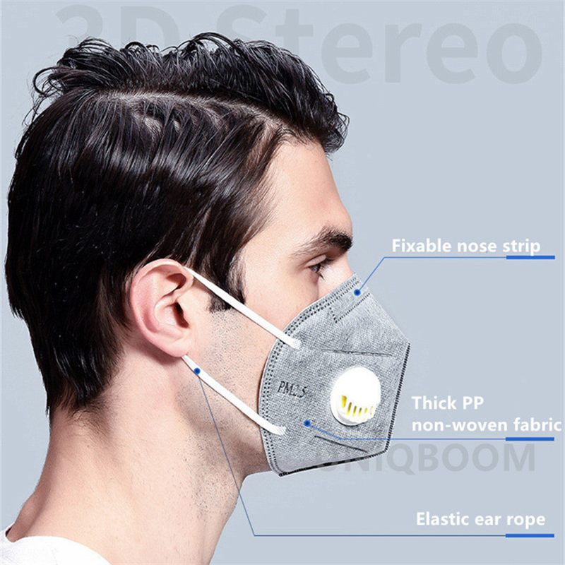 N95 Mask Adult Vertical Nonwoven Air Valved Anti COVID Virus Dust Mask PM 2.5 Respirator Mouth Mask With Valve Gauze filter Mask 1
