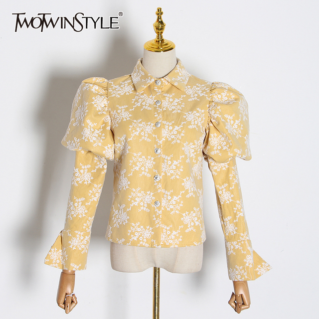 TWOTWINSTYLE Embroidery Hit Color Womens Blouses Lapel Collar Puff Long Sleeve Slim Shirts For Female 2020 Fashion Clothes Tide