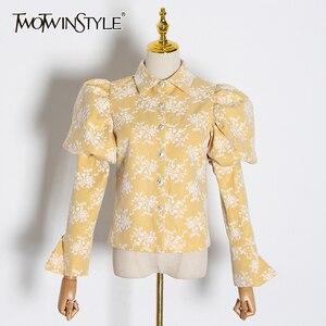 Image 1 - TWOTWINSTYLE Stickerei Hit Farbe frauen Blusen Revers Kragen Puff Langarm Dünne Hemden Für Weibliche 2020 Mode Kleidung Flut