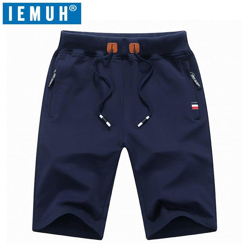 IEMUH Shorts Sport Breathable Summer Brand Solid Men Board Elastic-Waist
