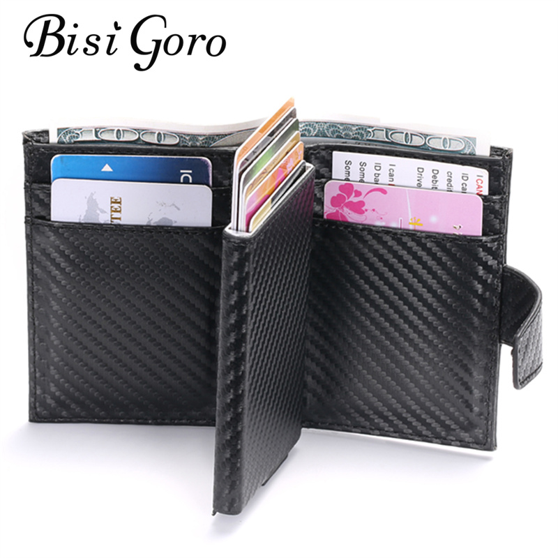 BISI GORO 2019 Smart Wallet Male RFID Card Holder  Aluminium Alloy Metal Credit Card Wallet Antitheft Men Automatic Card Case