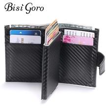 BISI GORO 2020 inteligentny portfel męski futerał na karty RFID stop Aluminium metalowy portfel na karty kredytowe antykradzieżowe męskie automatyczne etui na karty