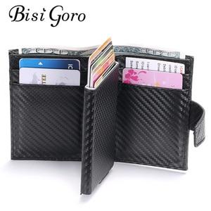 Image 1 - BISI GORO 2020 inteligentny portfel męski futerał na karty RFID stop Aluminium metalowy portfel na karty kredytowe antykradzieżowe męskie automatyczne etui na karty
