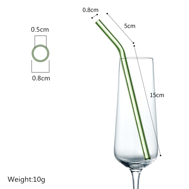 Special Fine Curved Reusable Glass Straws 2