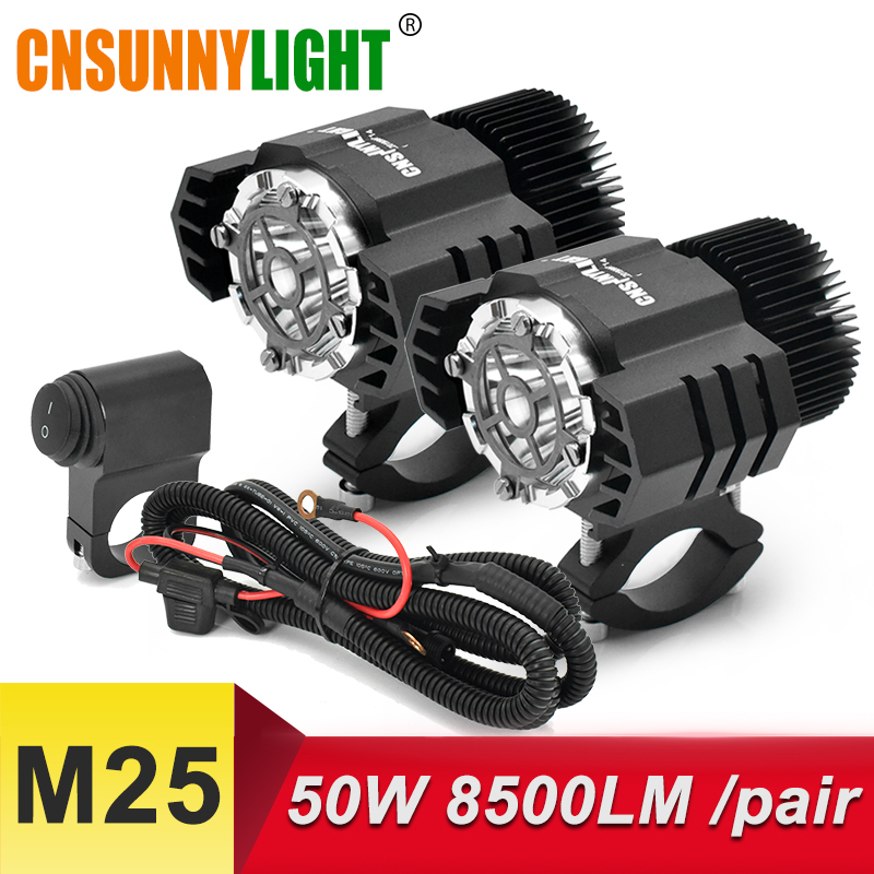 CNSUNNYLIGHT 2 pièces LED Moto Projecteurs Phare 25W 4250Lm Moto Brouillard Drl Phare 4x4 Offroad Travail Conduire Spots