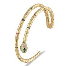 Bracelets classiques en cuivre et Zircon pour femmes, Double couche en forme de serpent, manchette ouverte réglable, bijoux à la mode pour Bar de fête