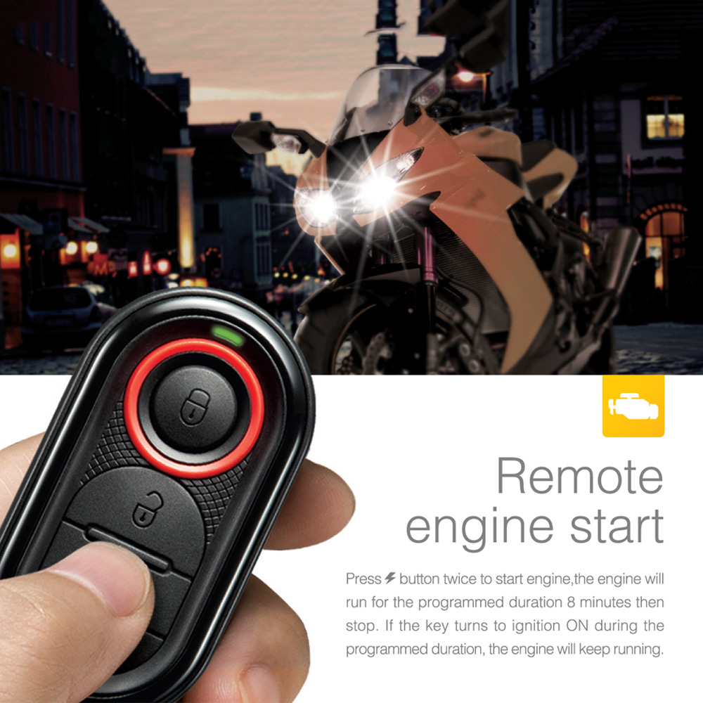 Steelmate 986E Motorcycle Scooter Alarm System Remote Engine Start Motorcycle Engine Immobilization With Transmitter