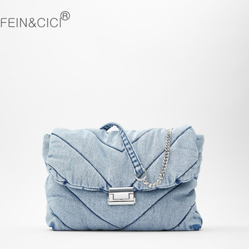 Luxury designer jeans bag women denim chain quilted MAXI crossbody bag women 2020 winter new messenger handbag shoulder bag women s luxury designer elegant pu classic quilted vintage shoulder bag chain flap crossbody bag handbag office daily fashion