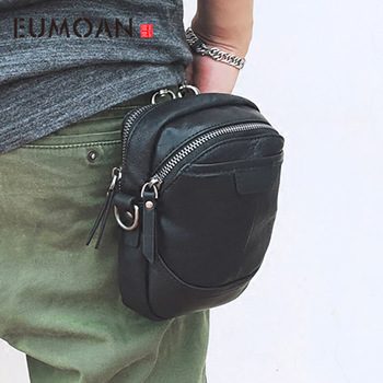 EUMOAN Men's leather shoulder crossbody bag cowhide casual small bag Large screen mobile phone package multifunctional hook wais