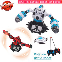 1set 2pcs Robot Included RC Battle Robot Remote Control Battle Boxing and Fighting Robot 360 Degree Rotating RC Battle Robot