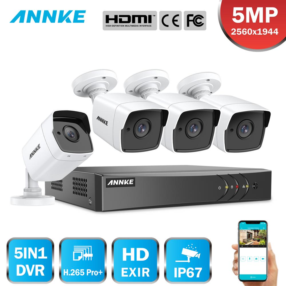 ANNKE 8CH 5MP Security Camera System 5MP Lite 5IN1 H.265+ DVR With 4PCS 5MP HD Bullet Outdoor Weatherproof Surveillance CCTV Kit