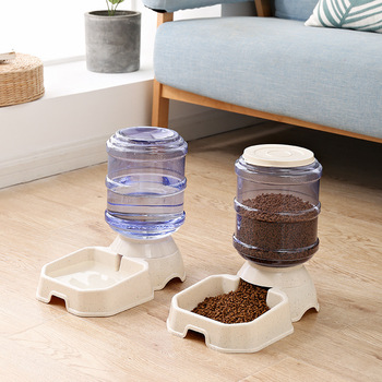 Environmental protection plastic Pet bowl The cat and dog bow Automatic feeding Feed water Water dispenser feeders automatic