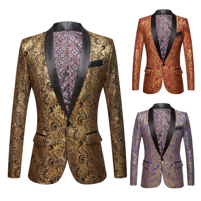 Mannen Vergulde Zwarte Kraag Pak Set Bruiloft Gouden Bloemen Patroon Slim Fit Party Prom Dress Tuxedo Zangers Kostuum jas