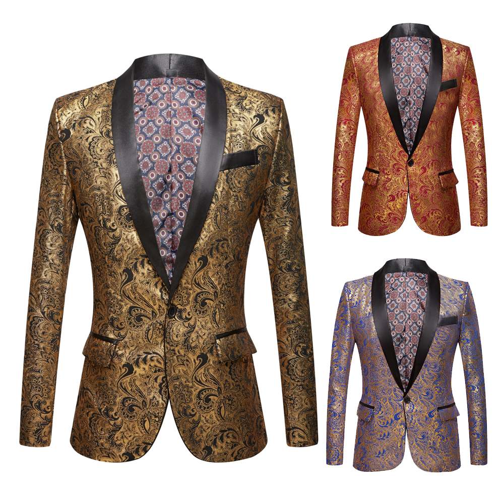 Men's Gold Plated Black Collar Suit Set Wedding  Gold Floral Pattern Slim Fit Party Prom Dress Tuxedo Singers Costume Jacket
