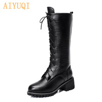 AIYUQI Motorcycle Boots Women Genuine Leather Warm Wool Martens Boots Large Size Lady Shoes Winter Boots For Women
