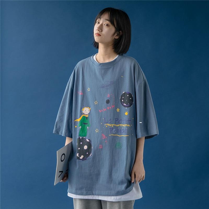 Новинка 2020, футболка с принтом Маленького принца, летние женские футболки с короткими рукавами и круглым вырезом, топы с принтом для студент...