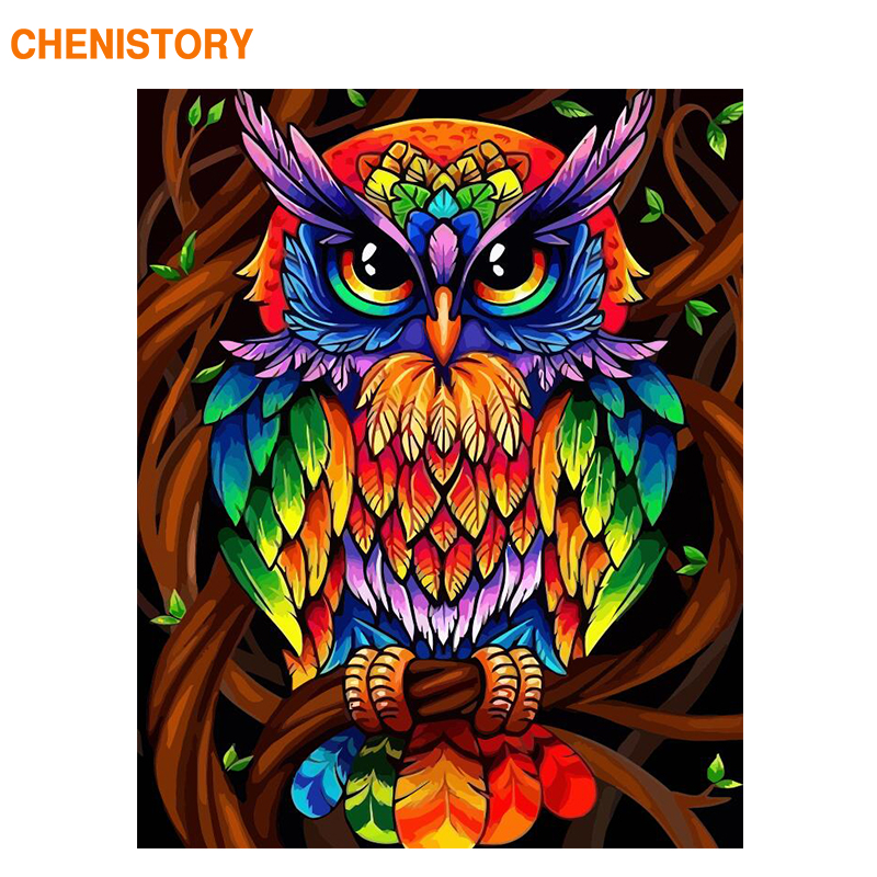 CHENISTORY 60x75cm Frame Color Owl Animals Diy Painting By Numbers Kit Modern Wall Art Picture Acrylic Paint By Numbers For Gift