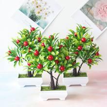 24 × 25センチメートルグリーン小さな木赤人工果物鉢植え盆栽家庭菜園リビングルーム装飾偽の植物パーティーお祝い用品