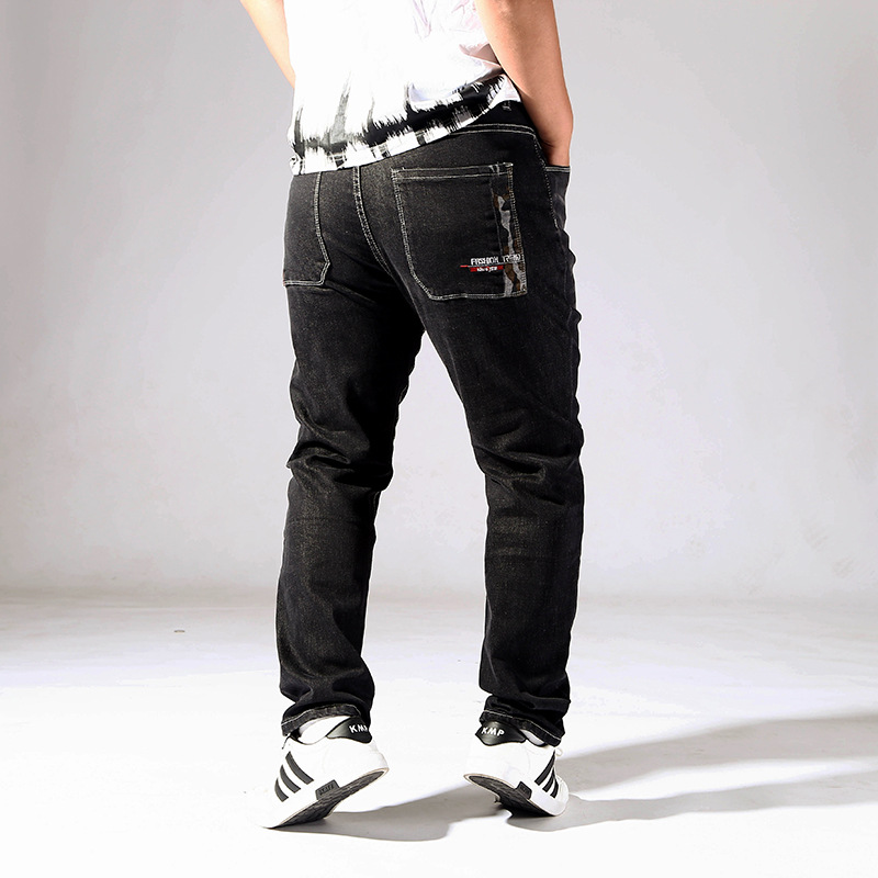 Xd16028 Stylish Loose Wear Youth Large Size Jeans Men's Elasticity Camouflage Volume Feet Printed Trousers 36-52
