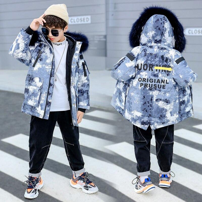 Veste d'hiver pour enfants pour garçon fille vêtements Camouflage manteau épais duvet de canard épaississement Outwear-30 degrés adolescent Snowwear
