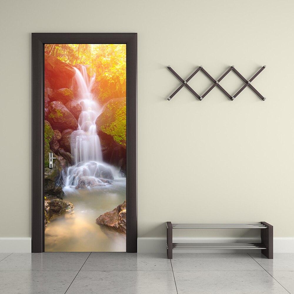 2 stuks Home Decoratie 3d sticker muur Adesive Landschap Art Behang Waterdichte Wand Deur Decor - 4