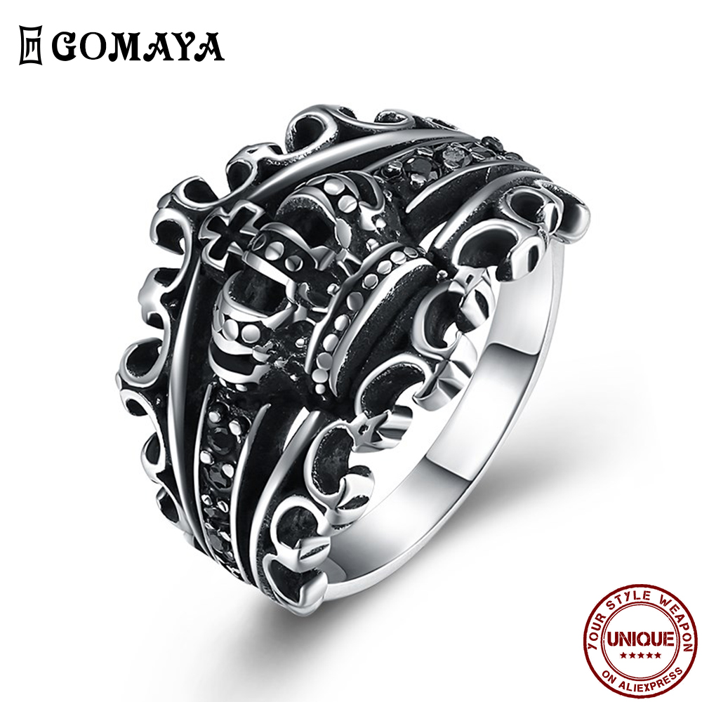 GOMAYA 316L Stainless Steel Hollow Out Crown Rings For Men Black Royal King Cross Ring Vintage Punk Anniversary Fashion Jewelry
