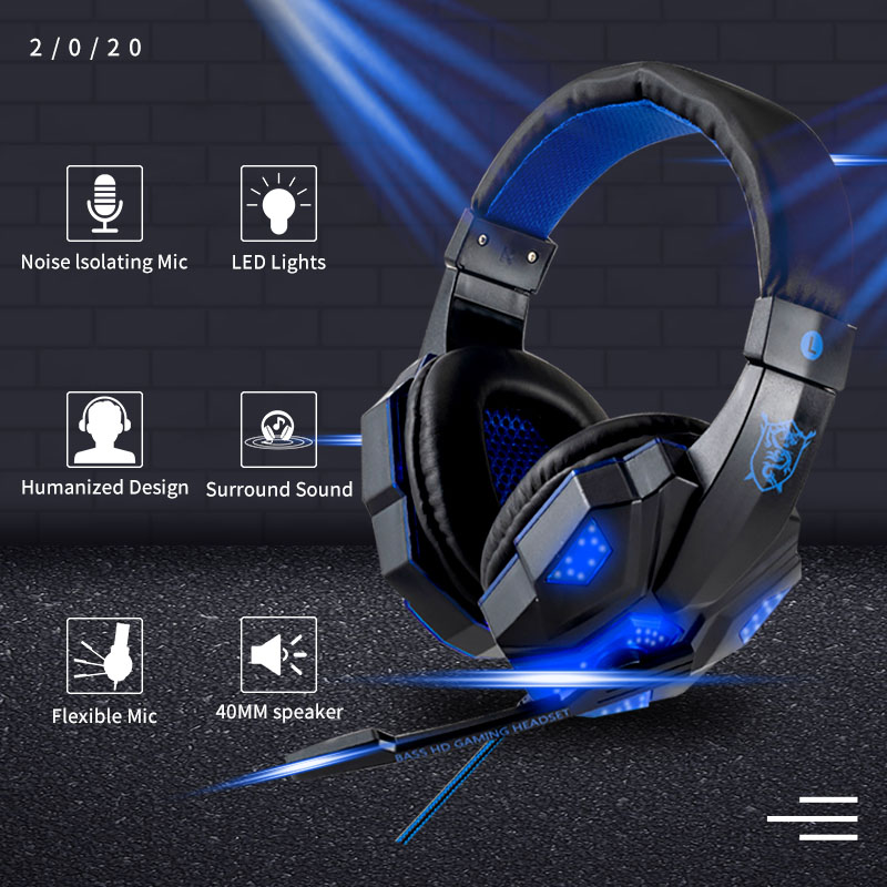 Professional Led Light Gamer Headset for Computer PS4 Gaming Headphones Adjustable Bass Stereo PC Wired Headset With Mic Gifts 1