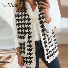 Fsda 2020 Mouwloze Houndstooth Jas Vrouwen Herfst Winter Pocket Vest Jas Wollen Dames Mode Vest Lange Plaid Vest