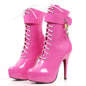 Image 2 - jialuowei 2019 Spring Sexy single boots Lace Up 15cm High Thin heel 4CM platform ankle short boots ladies womens Padlocks boots