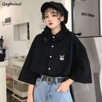 Blusen Frauen Kurzarm Hund-stickerei Lose BF Harajuku Shirts Vintage Studenten Alle-spiel Adrette Frauen Tops stilvolle