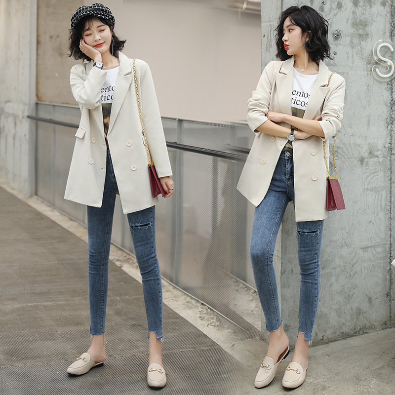 Small Suit Loose Coat Women 2020 Season Self-cultivation Skinny Jacket Solid Color Ins Man's Suit Suit-dress