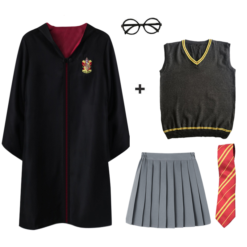 Magic Robe Cape Costumes Suit Tie Scarf Wand Glasses Ravenclaw Gryffindor Hufflepuff Slytherin Potter Cosplay Party Cosplay Gift