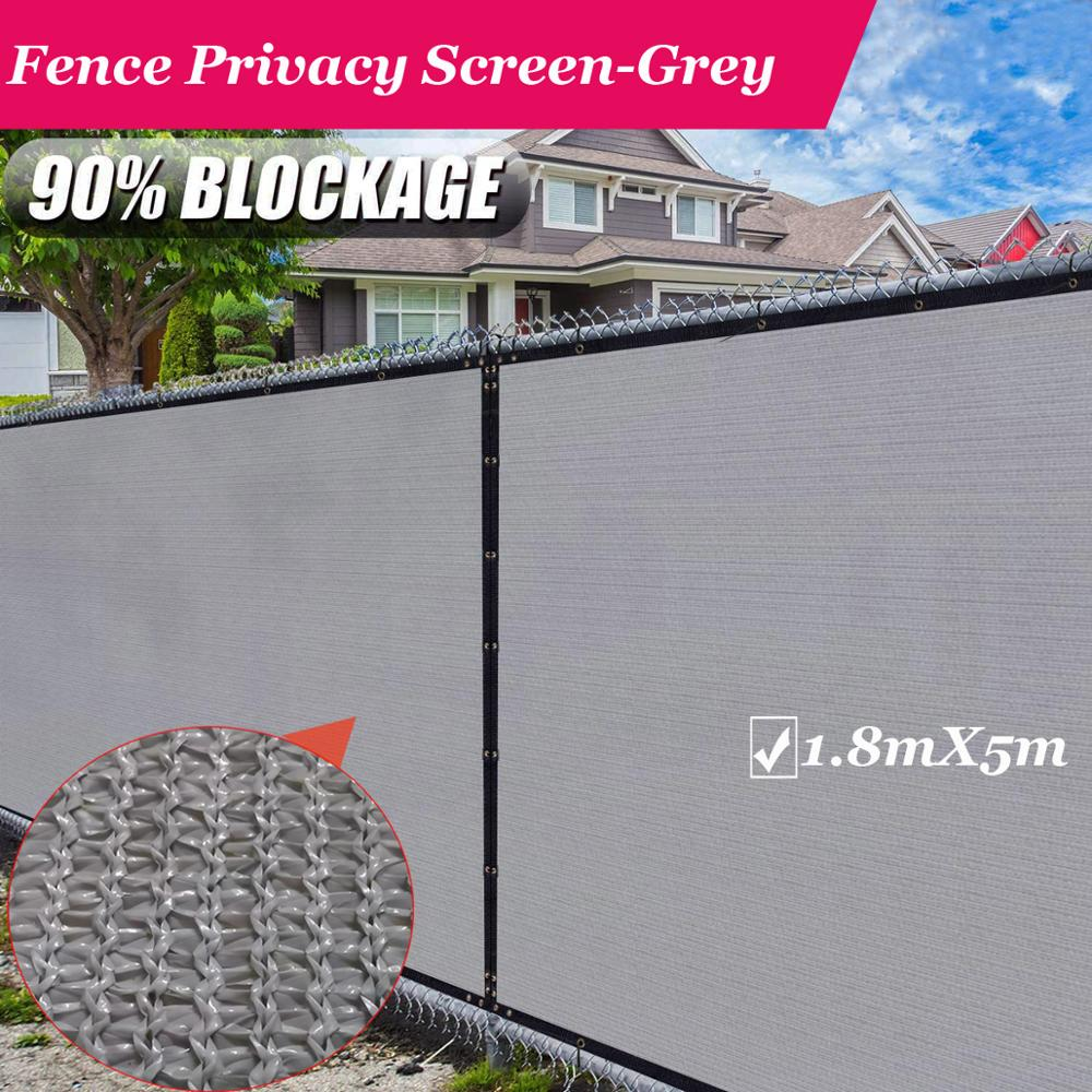Fence Privacy Screen Windscreen,with Bindings & Grommets, Heavy Duty Privacy Screen Mesh for Commercial and Residential-Grey