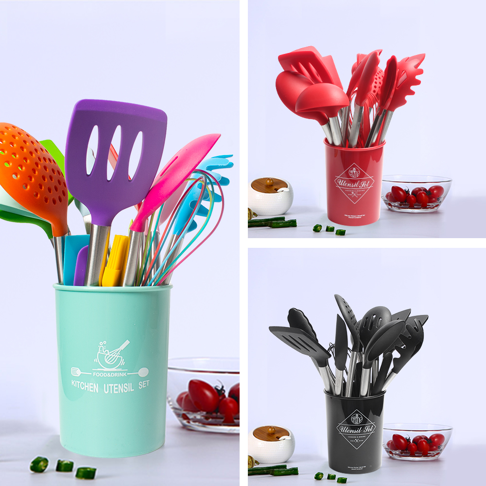 Silicone Cooking Turner Kitchenware Set 33pcs Stainless Steel Handle Spatula Kitchen Utensils Baking Tool Kit with
