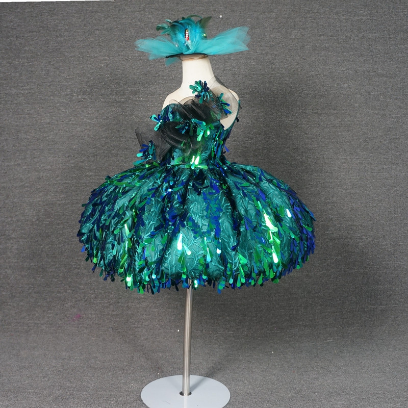 Green Sequin Flowers Girl Dresses Ball Gowns Luxury Kid Girls Birthday Pageant Dresses Custom Made