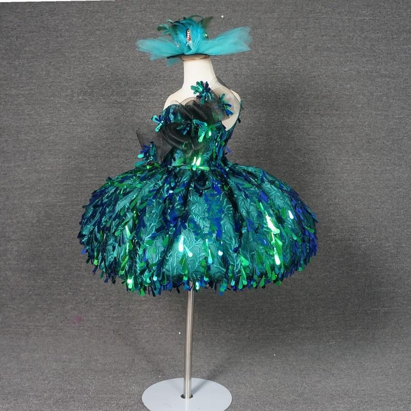 Green Sequin Flowers Girl Dresses Ball Gowns Luxury Kid Girls Birthday Pageant Dresses Custom Made