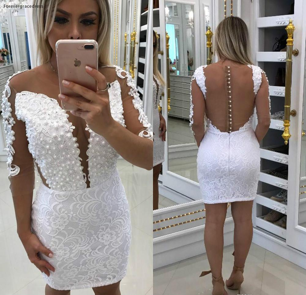 2019 Cheap Sheath Cocktail Dress Lace Appliques Pearls Long Sleeves Semi Club Wear Homecoming Graduation Party Gown Plus Size