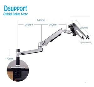 Image 4 - Aluminium Desktop Mount Ultra Lange Arm Dual Gebruik Laptop Bureau/Tablet Monitor Houder Arm Full Motion notebook Beugel
